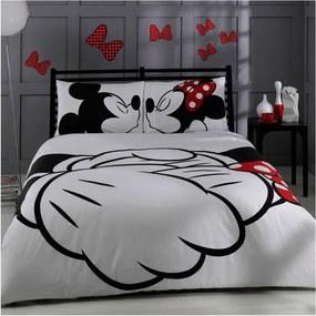 Lenjerie de pat cu cearșaf din bumbac Mickey & Minnie Adore, 200 x 220 cm