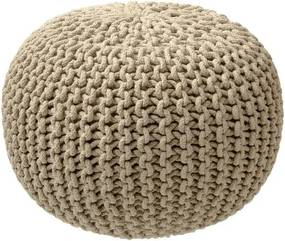 Puf tricotat ZicZac, maro nisipiu
