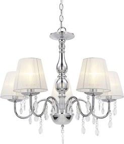 Lustra eleganta – lampa de plafon cu cinci brate – 5 x E14 - crom, alb