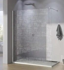 Cabina de dus Walk-In SanSwiss Pur 100 cm, sticla securizata decor Lines, 8 mm