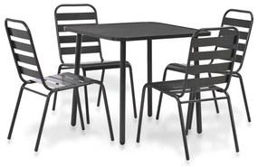 44262 vidaXL Set mobilier de exterior, 5 piese, gri închis, oțel