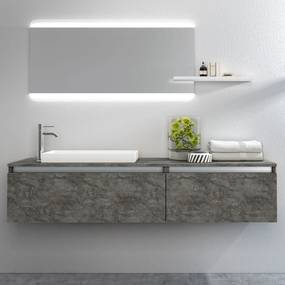 Set de baie cu 6 piese PERTH, Melamina Aluminiu Abs Sticla Rasina Metal, Gri, 170x45x190 cm