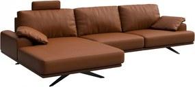 Canapea cu colt maro scortisoara din piele si metal pentru 4 persoane Prado Left Mesonica