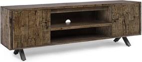 Comoda TV cu 2 polite 2 usi din lemn maro Archer 180 cm x 40 cm x 60 h