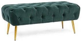 Bancheta catifea verde si picioare aurii Giacinta Green