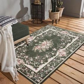 Covor rustic verde care nu se demodează, cu flori roz Lăţime: 200 cm | Lungime: 290 cm
