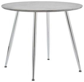 248297 vidaXL Masă de bucătărie, gri beton și argintiu, 90 x 73,5 cm, MDF