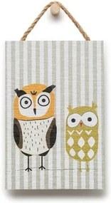 Tablou din lemn KICOTI Owls, 20 x 30 cm, multicolor