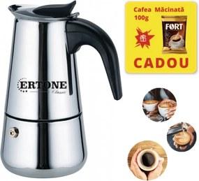 Filtru de cafea manual Ertone 240 ml, Cafea macinata, 6 cesti,inox