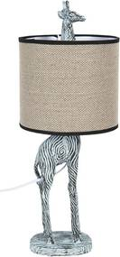 Veioza decorativa din polirasina alb negru cu abajur textil bej Girafa Ø 20 cm x 52 h